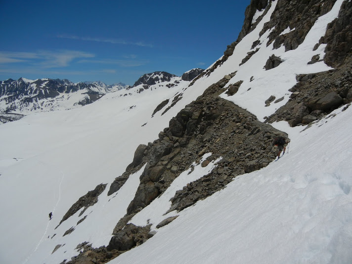 Ascending Pinchot Pass — The trail can be spotted in the upper right; however, the snow cover allows us freedom in choosing the route.