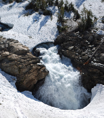The dangers of crossing over snow bridges may not always be this obvious.