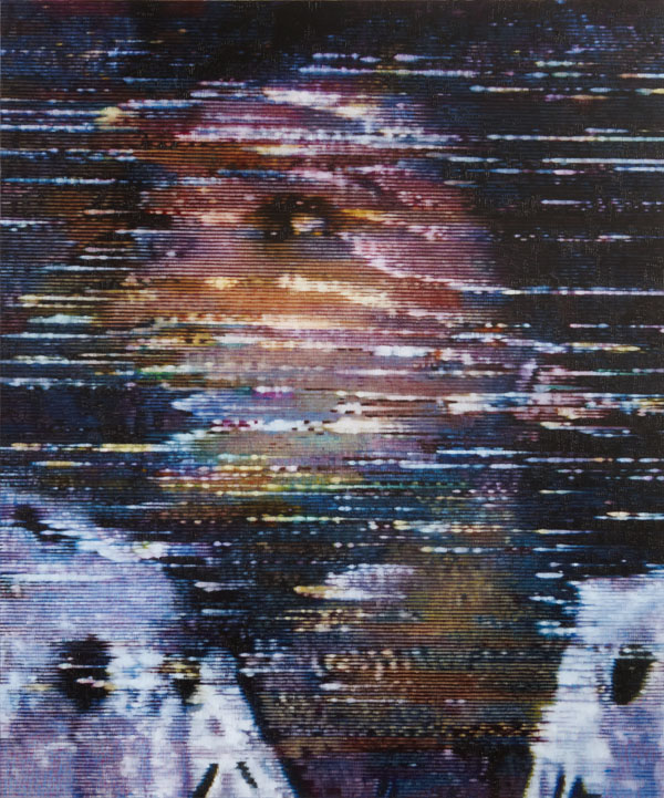 From Kon Trubkovich's Leap Second, a series of large-scale paintings of his mother recreated from one second of a home video.