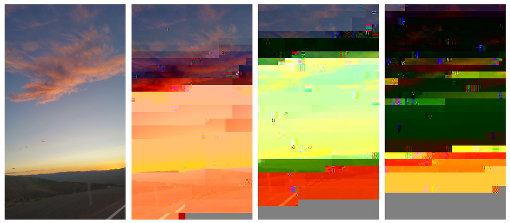 Before & after: an image I uploaded to a glitch-it-yourself website next to three iterations of the image generated by the site.