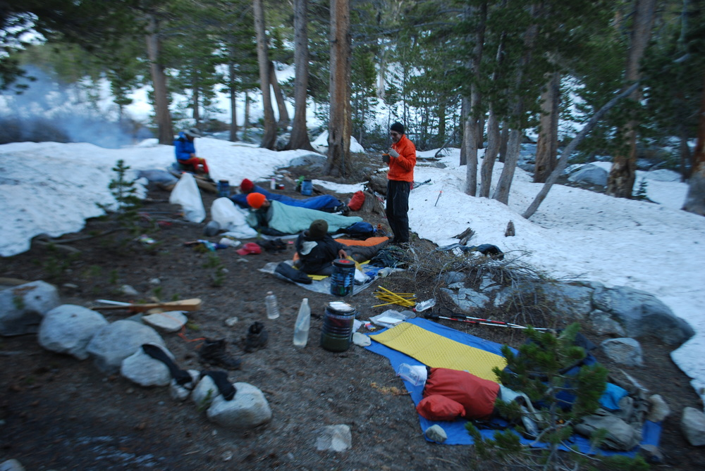 Hiker tales at Purple Lake, with little room to camp.