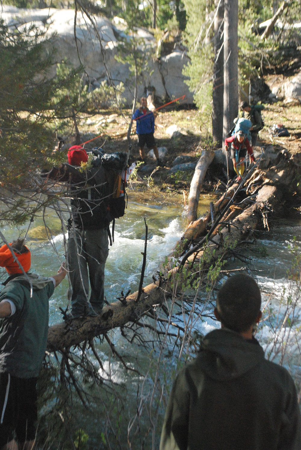 Crossing Rancheria Creek with rope overhead for balance.