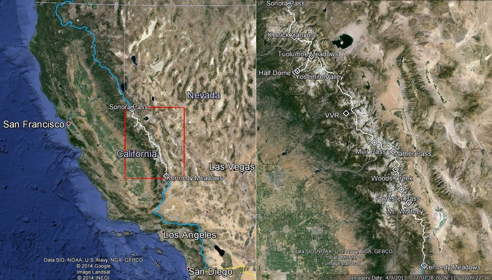 [Click image to enlarge] Left image shows the PCT through California and the insert on right shows the section through the Sierra Nevada mountains up to Sonora Pass, a total of 360 miles hiked for the authors. Part 1 picks up 700 miles into the trek and recounts a 190-mile, 12-day stretch from Kennedy Meadows to the remote Vermilion Valley Resort (VVR). Part 2 picks up from VVR and recalls 14 days and 170 miles to Yosemite Valley and then through the northern wilderness area of Yosemite National Park to Sonora Pass.