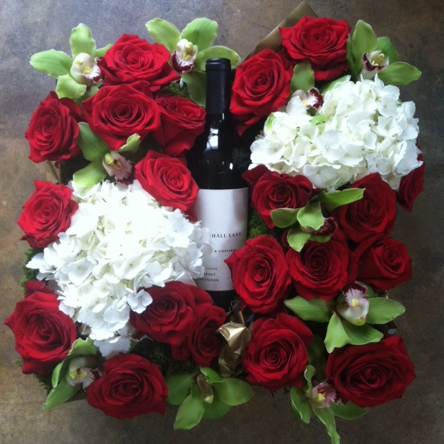 Gift baskets my fair ladys flowersmy fair ladys flowers red wineorchids roses negle Image collections