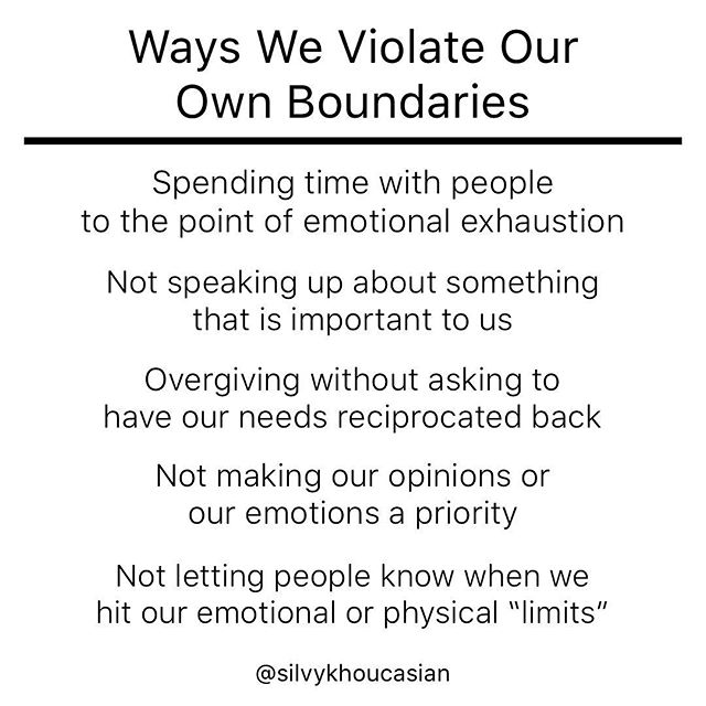 "When we have had our physical, emotional, intellectual, or spiritual boundaries violated as children, we lose touch with our internal ""red flags."" As adults, we then begin to downplay and minimize the importance of honoring ourselves. . . We likely don't even (know) that we are allowing our boundaries to be violated.  That's the tricky part.  It takes some integration work to go back in history and assess the ways in which we might have been hurt, or neglected, or unseen. . . Our boundaries can get violated through (neglect) just as much as through the (bypassing) of our limits.  A child who has not experienced warm loving touch can feel needy of affection without having the skill of discernment.  A child who had parents who weren't emotionally tuned into them, failed to help them see or understand their own limits. That child will likely grow up struggling to identify when they hit their (limits) in all kinds of situations. . . If we weren't given healthy permission to say (no), it would make sense that we are later challenged to own our no.  If we weren't allowed to (think) for ourselves, it would make sense that we would give our power away to the most charismatic person in the room.  If we didn't experience our emotions being (validated), it would make sense that we would later minimize our own emotions, and therefore others emotions too. . . The first part of boundary reclamation work is having the willingness to (see) all the ways we were violated or neglected.  That's a (really) hard thing to do.  And this isn't about making our parents or caregivers into bad people.  It's never about that. . . It's about giving ourselves permission to connect the dots for ourselves .. so that we can make sense of our story and our behaviors.  It's about being able to work through our own resistance and our own personal challenges .. so that we can then begin to feel the empowerment and possibility that is available to us on the other side. #coachingwithsilvy . . Where do you struggle to say no the most?"