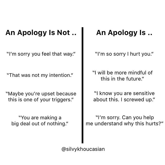 """An apology is not .. """"I'm sorry you feel that way."""" An apology is not .. I'm sorry that you are sensitive about this."""" . . An apology is .. """"I'm sorry what I did hurt you, and I will be more mindful in the future."""" An apology is .. """"I'm sorry, and I really care about your feelings."""" An apology is .. """"I'm sorry. Can you help me understand why that hurt you so I can know you better?"""" . . The first apologies are expressed from our (defensiveness). They come from our resistance to feel what giving a genuine apology has the potential to evoke in us .. such as guilt, shame, or sadness for feeling how we may have (unintentionally) hurt our partner. . . The second apologies are expressed from our (heart). They show a willingness to feel whatever feelings may come up for us .. when we express a heartfelt apology. . . We can all feel when we become resistant in these moments.  We can choose to get curious as to (why) we get defensive. We can choose to take that powerful first step .. and simply own it. . . """"Shit I feel defensive when it's time to apologize and I'm not sure why."""" . . Perhaps there was a pattern of pride in our family dynamic or in our culture that gets in the way. Perhaps our parents never apologized to (each other) for us to witness. Perhaps our parents never apologized to (us) when we were kids. Perhaps we were shamed into apologizing to grown ups and now panic at the thought of revisiting that dreadfully familiar experience.  Perhaps .. we simply don't know what a healthy version looks like. . . So maybe, we can start there: """"I absolutely want to apologize, but I'm realizing something is off with me. I'm so sorry about that. I'm not sure what that's about .. but I'm gonna try to figure it out."""" . . That kind of genuine and uncomfortable vulnerability can sometimes be as powerful as the apology itself. And it's a hell of a lot better than looking at our partner with a cold, icy and defensive look that comes up when we resist that important moment. #coachingw"""