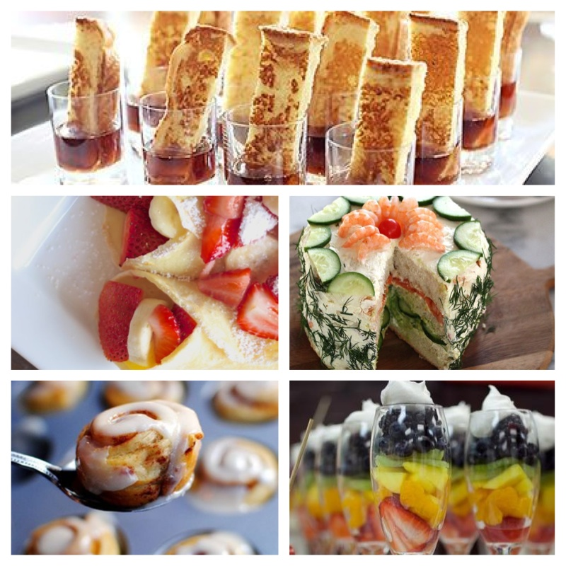 Click on each name for recipe! -French Toast Appies, Strawberry and Banana Crepes, FANCY Tea Cakes, Mini Cinnamon Buns, Fruit in a Glass