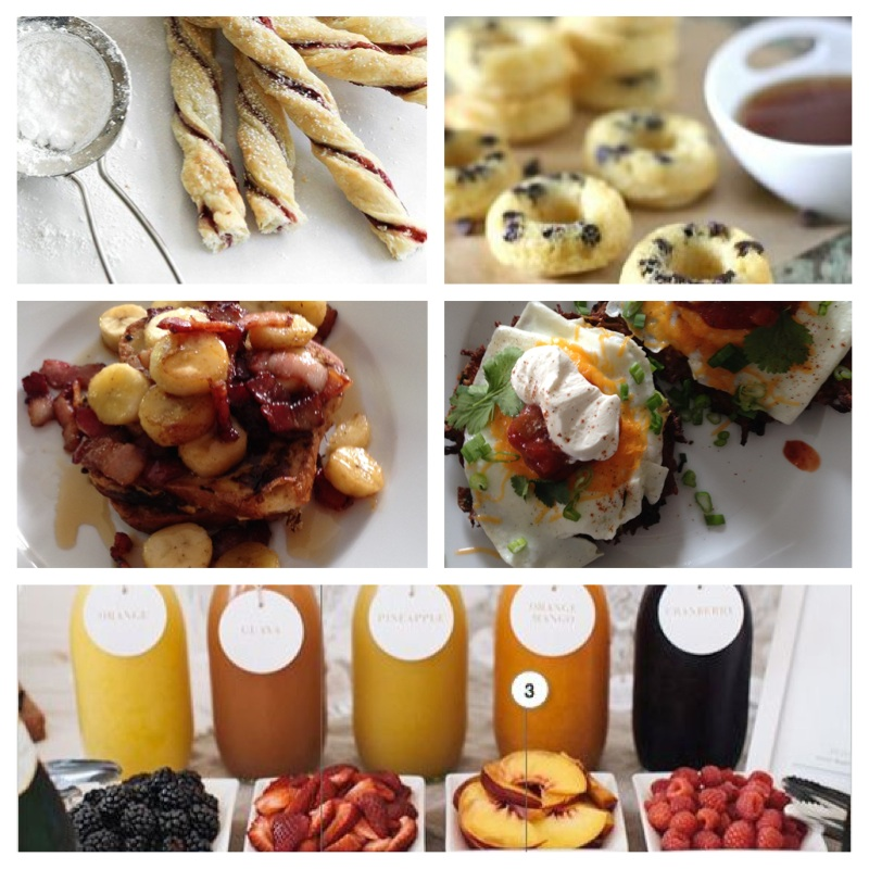 Click on each name for recipe! -Strawberry Preserve Puff Pastry Twists, Chocolate Chip Pancake Dippers, Gluten Free Caramelized Banana & Bacon French Toast, Gluten Free Tex-Mex Eggs Benny, Mimosa Bar!