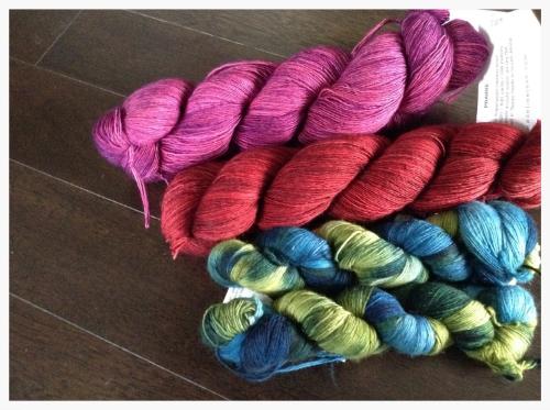 Pink yarn - Madelinetosh Lace | Red yarn - Madelinetosh Lace | Blue / Green yarn - Malabrigo Lace