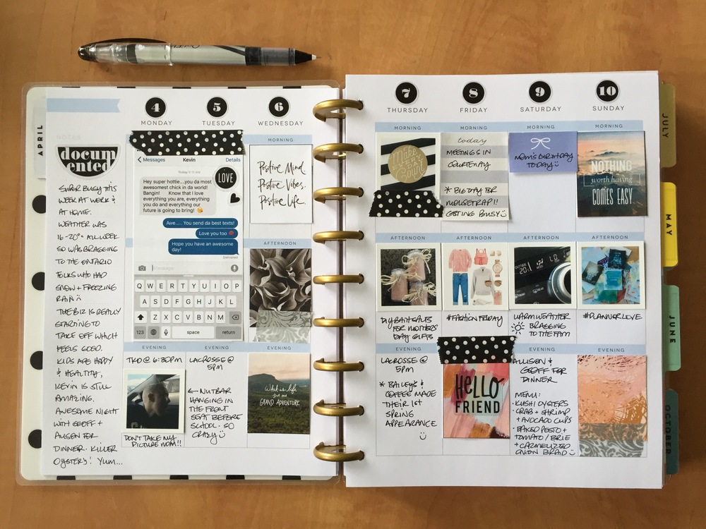 Snapshot of my journal planner - photos from the week, a small journal entry on the side and LOTS of planner printables!