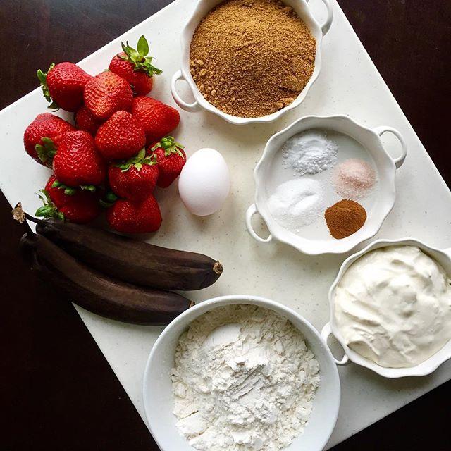 Finishing up a new post on the blog. Strawberry Banana Cream Cheese Muffins. Yum🍓🍌#recipe