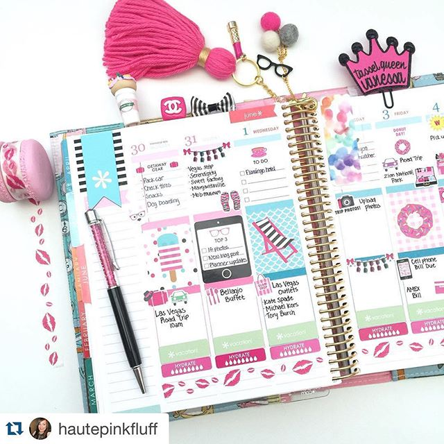 Love this layout! #plannerenvy  #Repost @hautepinkfluff with @repostapp. ・・・ Planner pages for next week in my @erincondren LifePlanner and the June kit from @paperandglam ☀️💕🙆🏻 Save 15% on all your Paper & Glam goodies using coupon code INSTAGLAM.