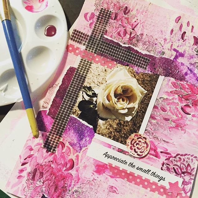 Art journal page for the night. A photo I took of a single rose given to me on my birthday. Created with supplies from my new Create Every Day art kits :) #linkinprofile #create #artjournal #artjournaling #scrapbooking #junkjournal #art #mixedmedia