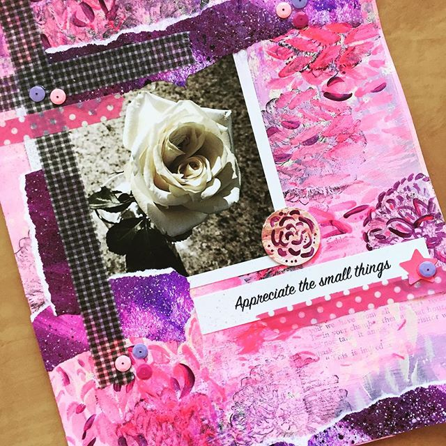 Last touches & a daylight view of the art journal page I created last night:) took a photo of a pretty flower my girls have my for a birthday and used the handmade papers from my new Etsy Art Kits (#linkinprofile) to create it! #artjournal #junkjournal #scrapbooking #watercolor #art #create