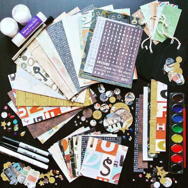 """New """"Get Creative"""" Art Kits just launched in the shop (#linkinbio) - 210+ trendy curated scrapbooking, art journal or junk journal kits! Includes everything pictures including paints, sharpies and mediums! Get your today! #artjournal #art #scrapbooking #paper #papercraft #junkjournal #cardmaking #hobby #crafts #journal #etsy"""