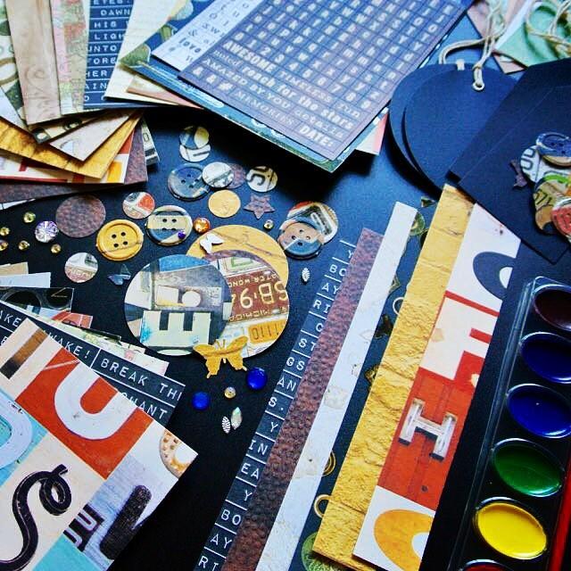 Another view of my new Get Creative Art Kit - Lost & Found - 210+ piece art journal / junk journal starter kit! Get your now! #art #artjournal #artjournaling #junkjournal #journal #scrapbooking #cardmaking #etsy #handmade #newstock