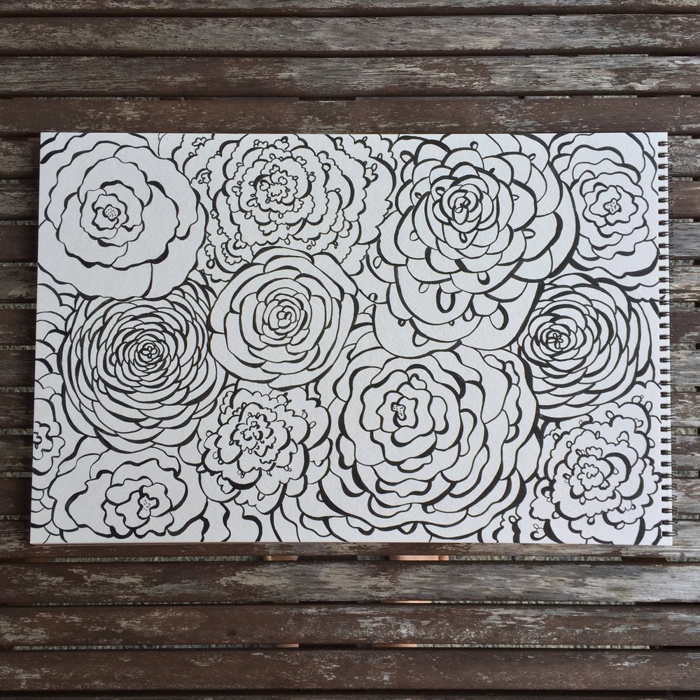 floral doodle colouring page