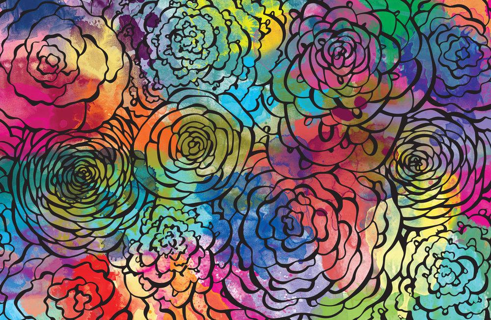 watercolor floral doodle