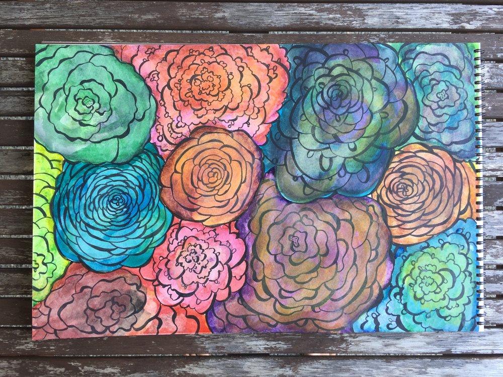watercolor doodle floral