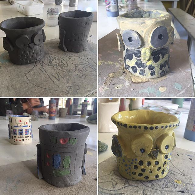 Great afternoon at @4catsstudio! Booked a back to school afternoon complete with a splatter painting session and awesome clay mugs :) #4cats #create #backtoschool