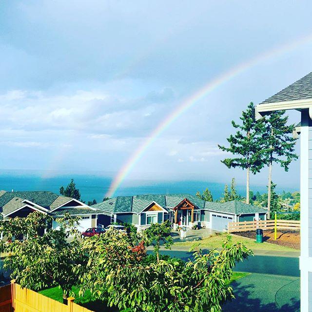 Killer rainbow today off the deck. Love our home :) #islandlife #rainisok #fall