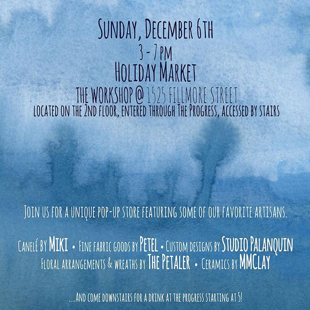 PALANQUIN will be at the Holiday Market at #theprogresssf tomorrow from 3 to 7pm.  We'll have new gift ideas like #compositionkit and Marble Coaster sets.  Also featured will be #suminagashi #monoprints and #greetingcards by our very own Ruth Bosco.  Come by, grab a drink at the bar, and check out the custom lighting we created for the restaurant!