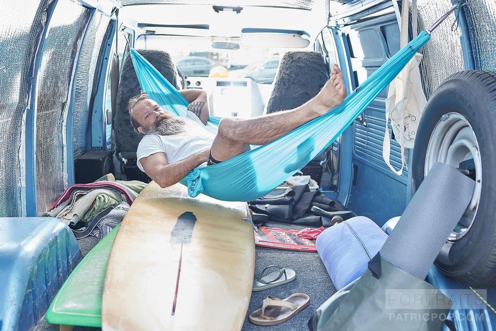 Portrait of Jerome Mercier in his surf and yoga van by Patric Pop Photo Studio based in Genève / Geneva.