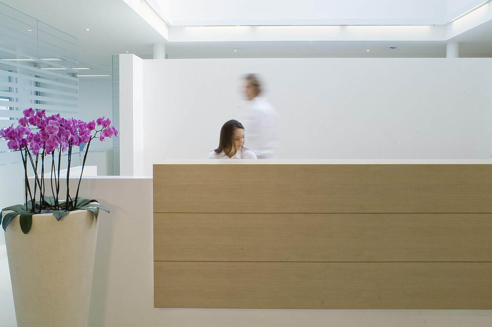 Commercial interior photography for  Lakeside Kieferortho , orthodontic center near Zurich showing some dynamic movement with employees at the front desk.