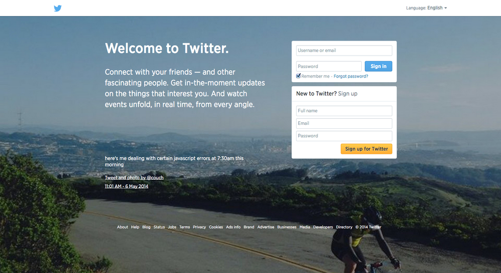The real Twitter homepage