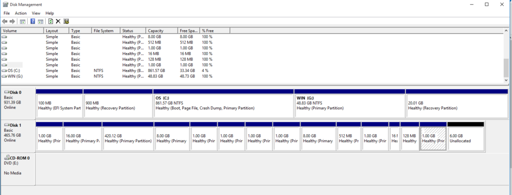 The drive with the many many partitions and 500gb total size is the drive