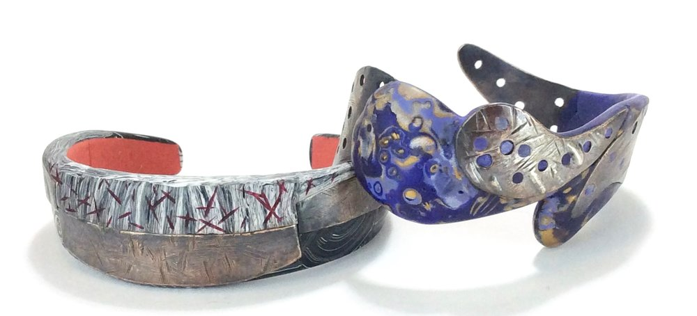 """Metal and Bronze cuff bracelets-2018   polymer clay millefiori marquetry, Bronze , acrylic paint, apoxy clay and wire core  1 """"- 2""""  w x 8.5 (9) circumference x .175 D"""