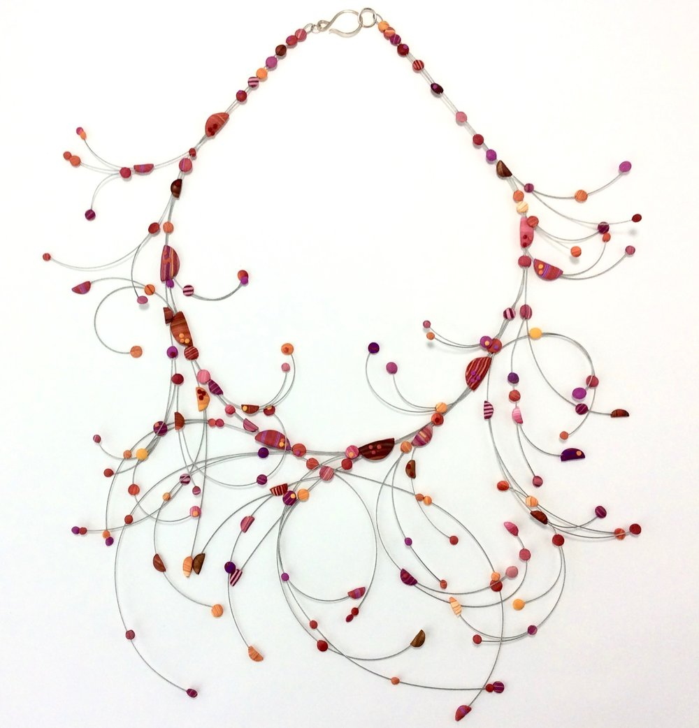 """Branch and Bubble  Necklace  Polymer Clay millefiori marquetry, stainless steel wire, argentium silver hook 2019  20"""" L x 5.5 """" H x 6"""" W .125 x D  2019"""