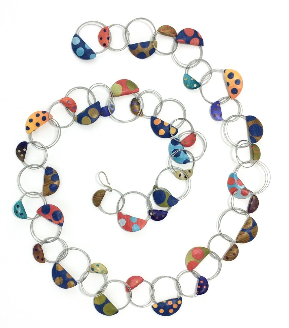 """Wire Loop Necklace 2018  Polymer Clay millefiori marquetry, stainless steel wire, sterling silver hook closure     38"""" L x 1.5w x .175 d"""
