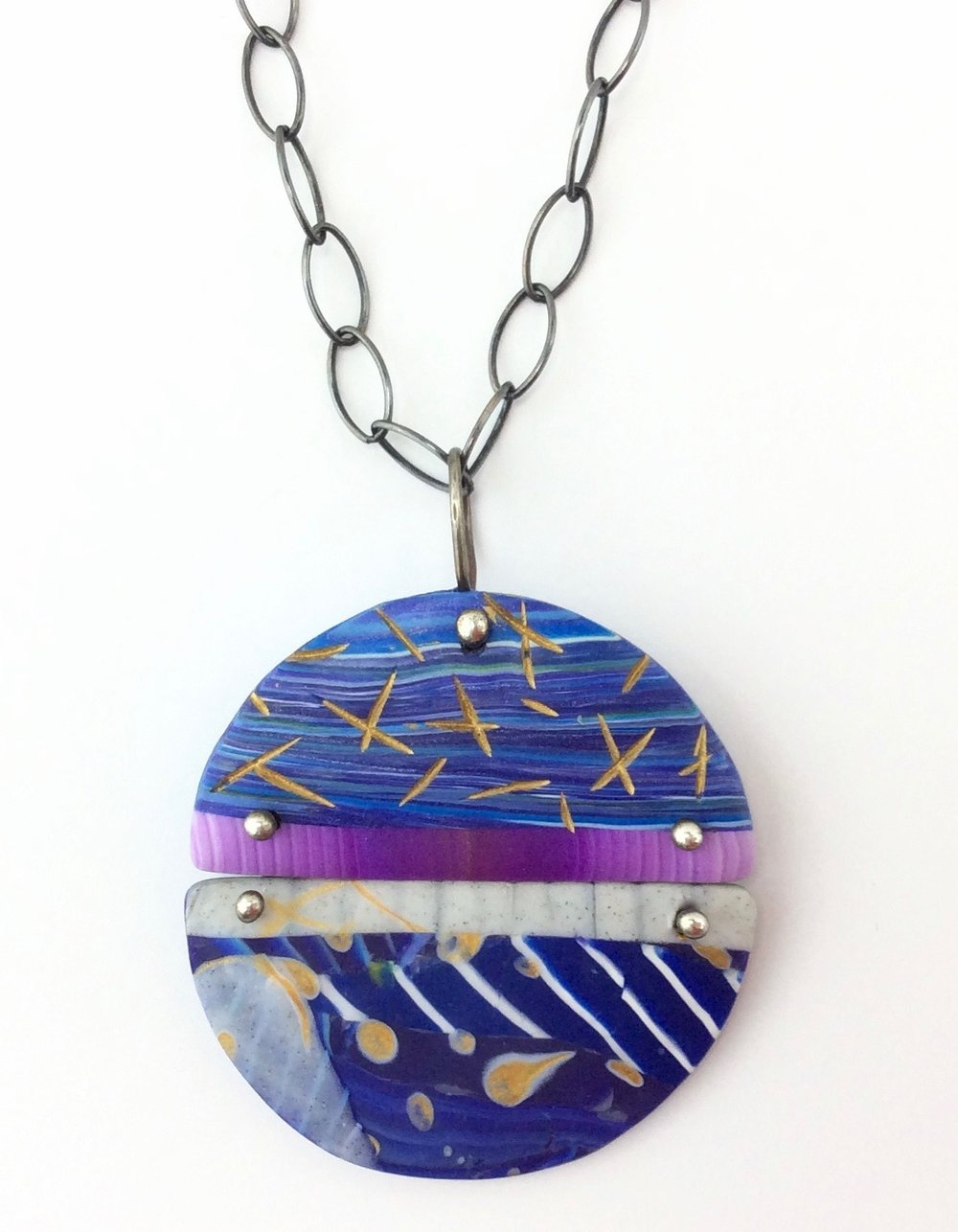 """Dancing Pendant  polymer clay millefiori marquetry, argentium silver, patinated sterling silver chain with fabricated sterling silver hook ,acrylic paint  30"""" L x 2"""" W x 2"""" H  2018"""