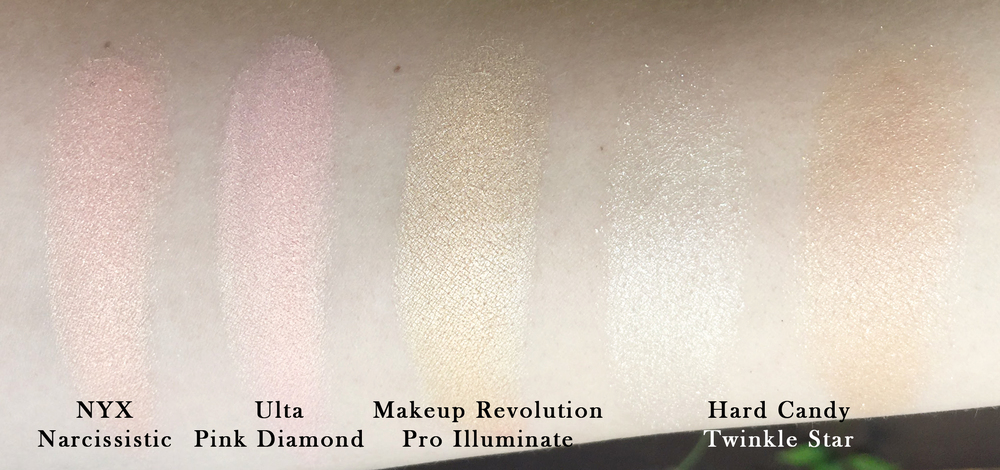 I'm telling you, the Ulta highlighter looks bright yellow/gold on the face. Heartbreaking.