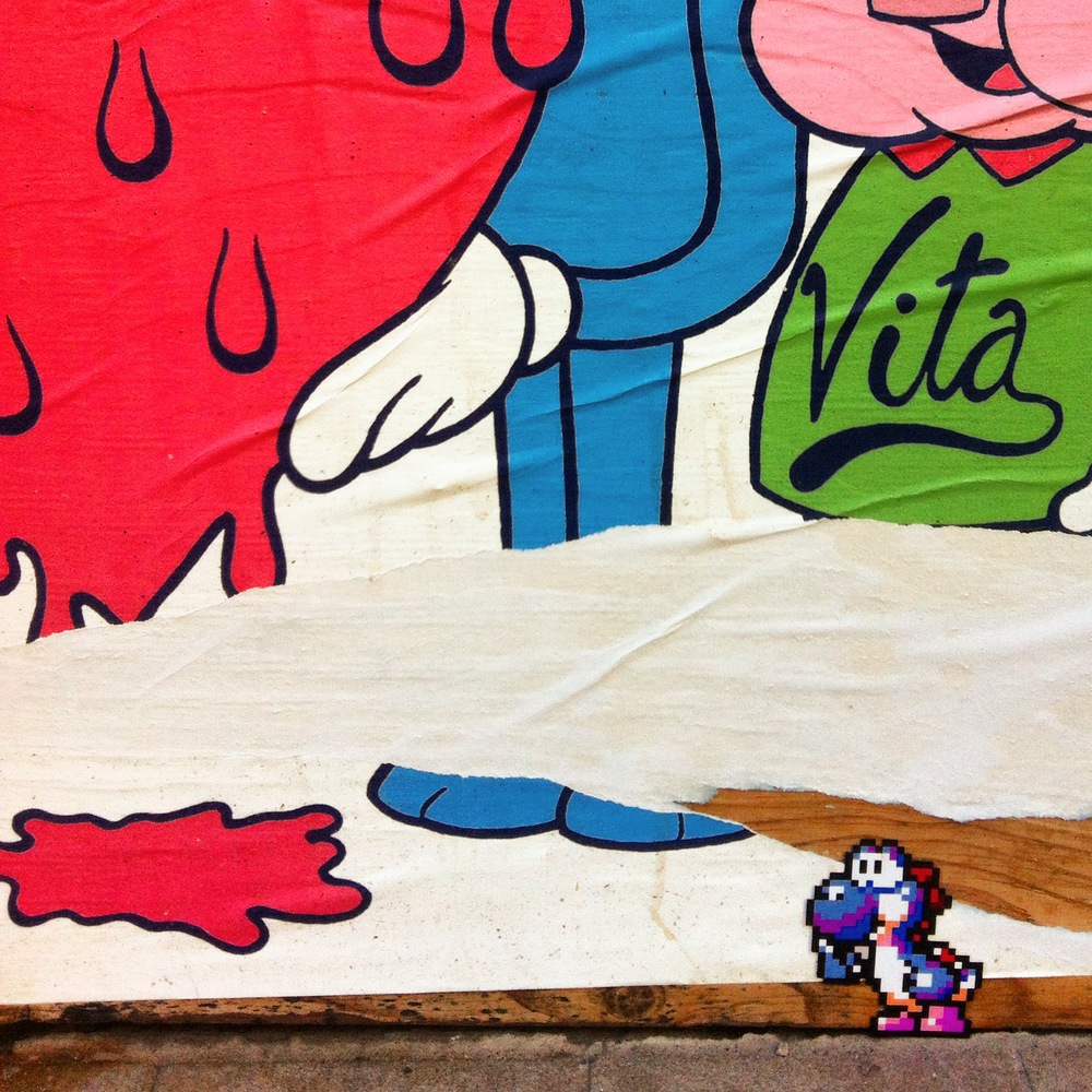 Yoshi in Tavaland  (august 2014) —Stanley St. —Montreal, Québec —  street art in the background by  Tava