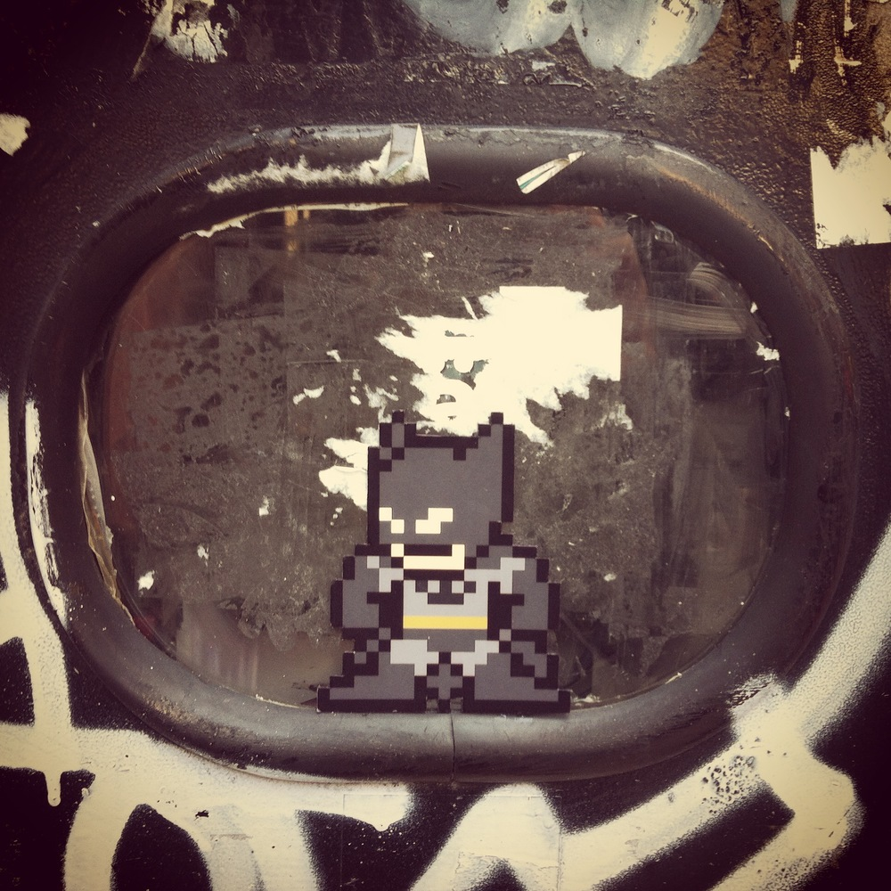 Megaman x Batman mashup  (august 2014) — Sainte-Catherine St. near corner of Metcalfe — Montreal, Québec — original 8-bit sprite by  captainslam