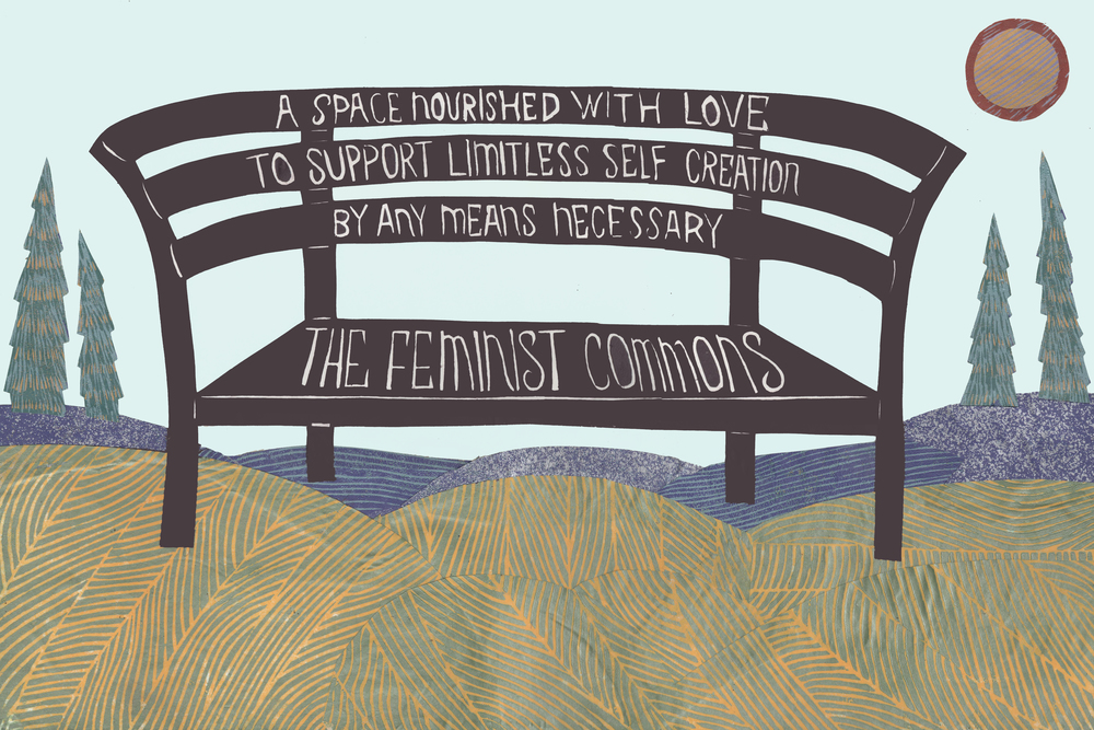 "The Feminist Commons Artist Meredith Stern writes: ""When creating this, I thought about park benches as a public space for breastfeeding, relaxing, reading, thinking, drawing, talking, and doing all the activities that drive life. I think of them as a ""free"" public space (at least the ones that are shaped to allow folks to sleep on them) and therefore a good metaphor for public access for reproductive justice without boundaries."" Meredith Stern grew up in rural town building tree forts with her brother and riding horses. She obtained a BFA in Ceramics at Tulane University in New Orleans. She is a member of the International printmaking group called The Justseeds Artists' Cooperative. She has a multifaceted practice that includes printmaking, 'zine publishing, gardening, and utilitarian ceramics. Her work focuses on gender liberation beyond binaries. Her work is in the permanent collections at the Library of Congress, Harvard University, the Book Arts Collection at the MOMA and in Museums and Universities around the country. In 2012 she curated a portfolio of writings and visual art on gender justice called ""This is an Emergency!"" In 2015 she created a series of 14 large scale 2' x 3' linoleum block portraits of creative people working in their studios titled ""Craft in Time."" She lives in Providence, RI with her husband, three cats, and a toddler named Fox. Image Copyright Meredith Stern 2016."