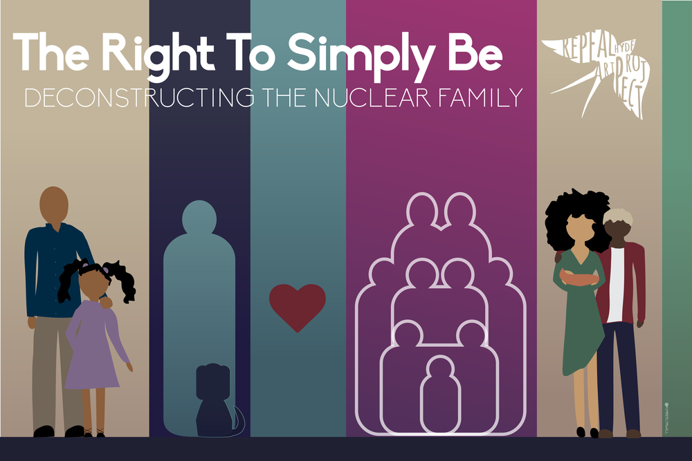 "The Right to Simply Be: Deconstructing the Nuclear Family    Artist   Kimberly R. Williams   says, ""When thinking about a post-oppressive society, I thought about why we choose to have children in the first place... America forces us to strive for the ideal 'nuclear' family which is a heterosexual couple, a couple of kids a dog and a white picket fence in the suburbs. This ideal leaves many people out. This ideal doesn't give many the right to simply live the way they want. That's how this graphic piece was born. People can have babies...or not. It's their right to simply choose their own kind of big (or little) happy family. Especially if that family is centered in love.   The families in this picture are: - Father & Daughter (based off my own family growing up) - Single but Don't Want to Mingle -  My Family Runneth Over - Queer Dream Team with Child""  Kimberly is a Pro-Afro Southern-Midwestern Graphic Artist that is willing to fight the good fight for social change. Her art focuses on helping to to liberate and educate others of macro-aggressions in our society. Check out her work including her #Irantwithmyart minimalist poster series inspired by current events, social justice issues and personal experiences  here ."
