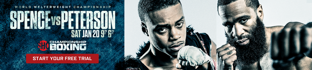 Design for Samsung Rotational Banner for the Spence v Peterson fight using the key art and assets provided