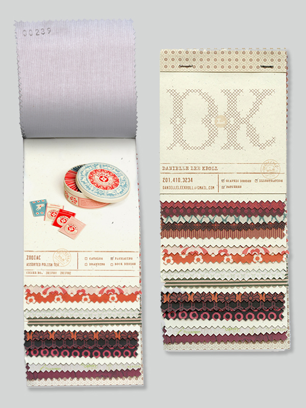 Danielle Kroll's self promo showcases her various pattern designs alongside examples of her work. The materials, format, typography and layout pay homage to vintage textile swatch books.