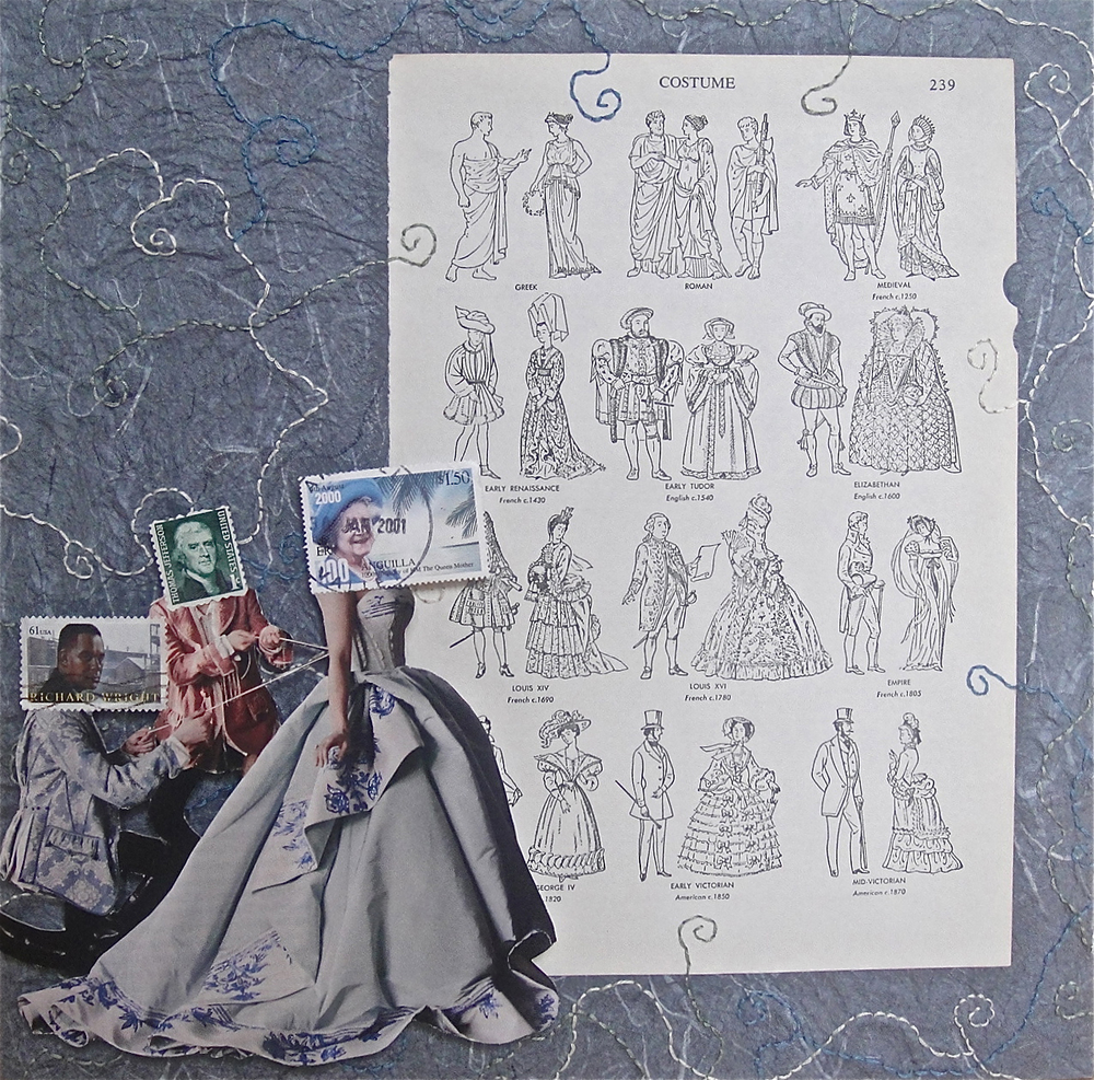 Collage using postage stamps, magazine clippings, vintage book and embroidery thread: Costume (2014)