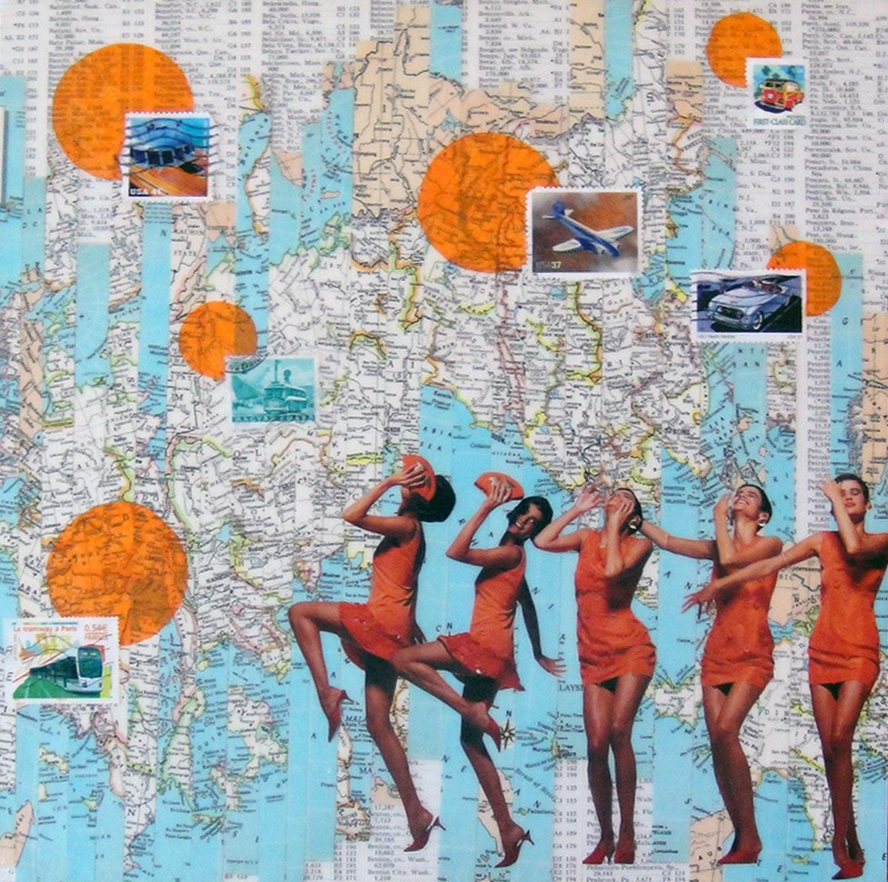 Collage using maps, postage stamps and magazine clippings: Going Places (2010)
