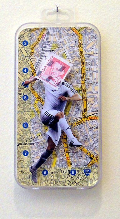 Collage using postage stamps, magazine clippings and old London A-Z pages: Goal (2013)
