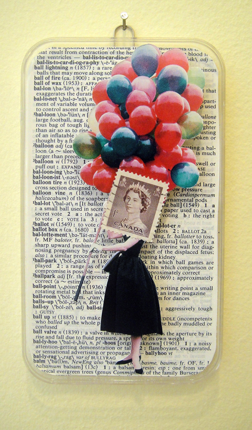 Collage using postage stamps, magazine clippings and vintage dictionary pages: Balloons (2013)