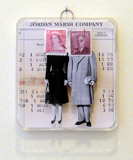 Collage using postage stamps, magazine clippings and 1930s Jordan Marsh account statement: Shopping Together (2013)