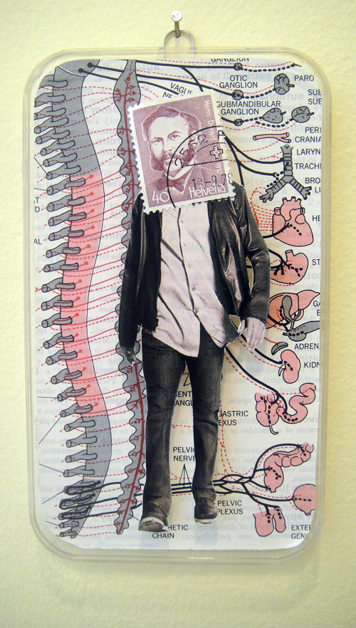 Collage using postage stamps, magazine clippings and vintage medical encyclopedia pages: Nervous (2013)
