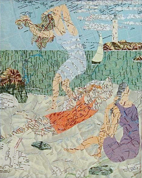 Collage made from maps, based on the painting by Picasso: The Bathers (2012)
