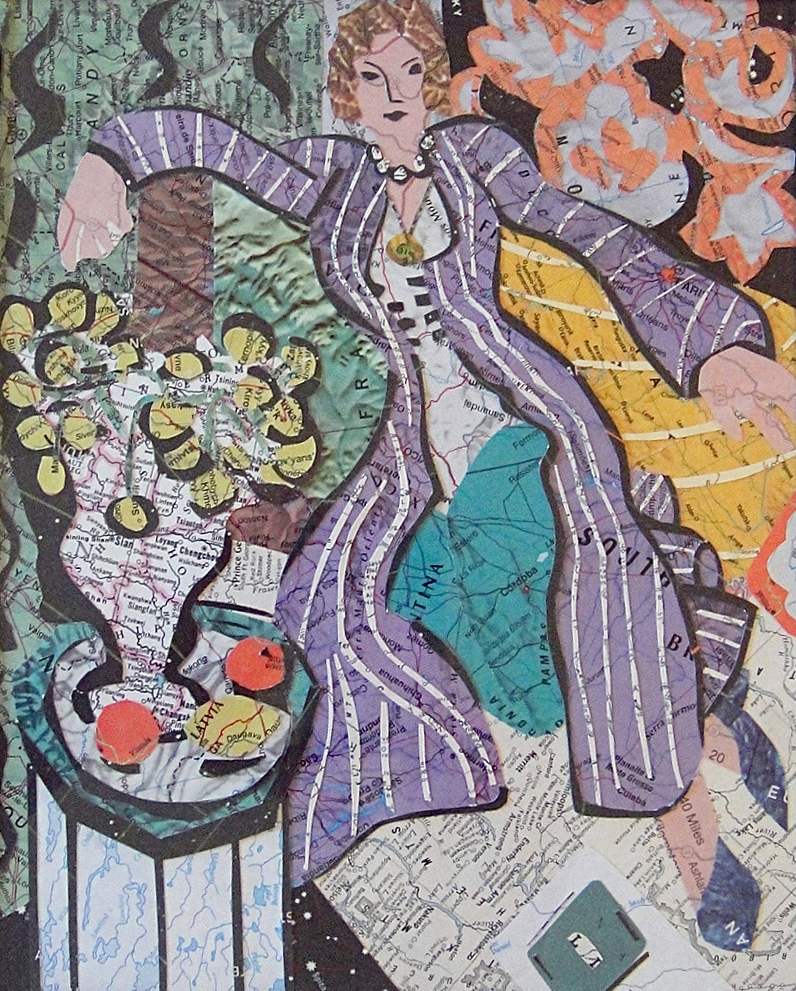 Collage made from maps, based on the painting by Matisse: Woman In A Purple Coat (2013)