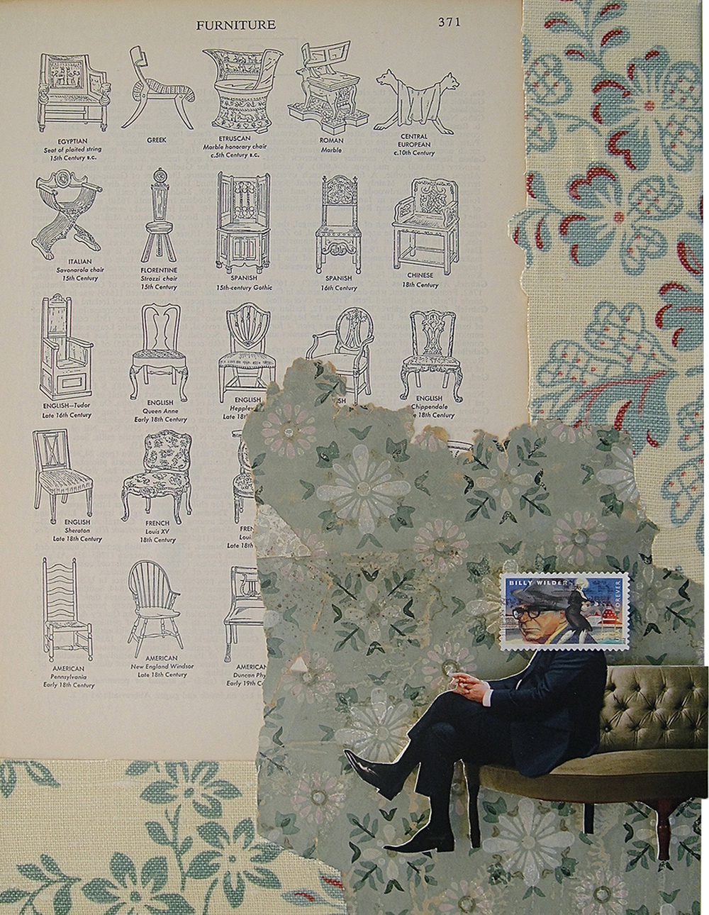 Collage made from postage stamps, magazine clippings, vintage fabric and wallpaper, and old books: Seating Arrangement (2013)
